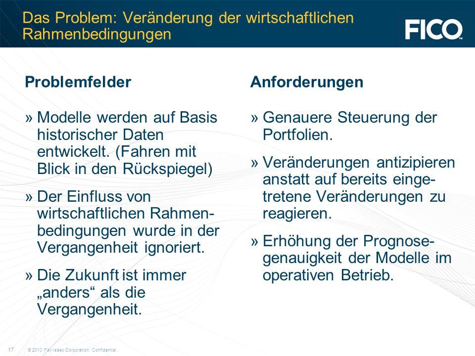 © 2010 Fair Isaac Corporation. Confidential. 17 Das Problem: Veränderung der wirtschaftlichen Rahmenbedingungen »Modelle werden auf Basis historischer