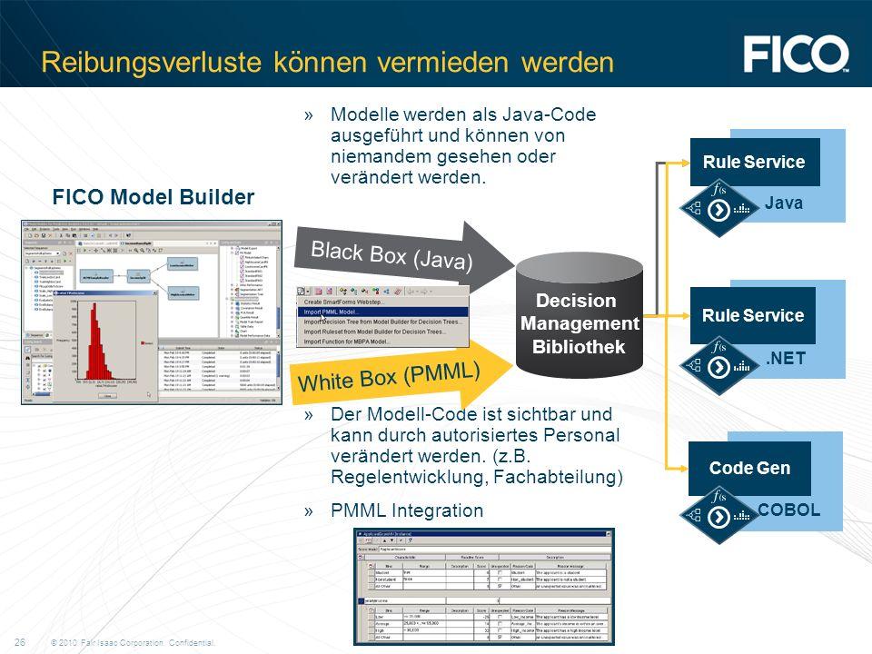 © 2010 Fair Isaac Corporation. Confidential. 26 Reibungsverluste können vermieden werden »Modelle werden als Java-Code ausgeführt und können von niema