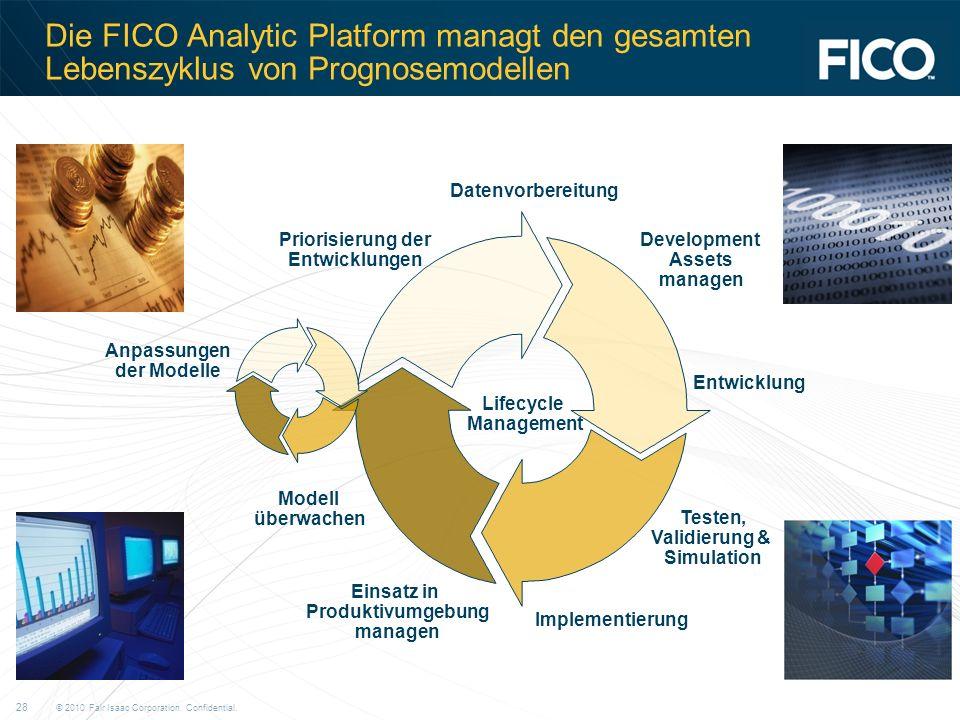 © 2010 Fair Isaac Corporation. Confidential. 28 Die FICO Analytic Platform managt den gesamten Lebenszyklus von Prognosemodellen Datenvorbereitung Dev