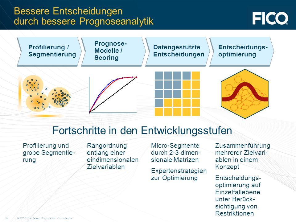 © 2010 Fair Isaac Corporation. Confidential. 6 Bessere Entscheidungen durch bessere Prognoseanalytik Fortschritte in den Entwicklungsstufen Profilieru