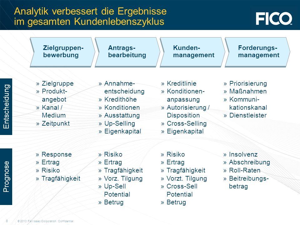 © 2010 Fair Isaac Corporation. Confidential. 8 Analytik verbessert die Ergebnisse im gesamten Kundenlebenszyklus Zielgruppen- bewerbung Zielgruppen- b