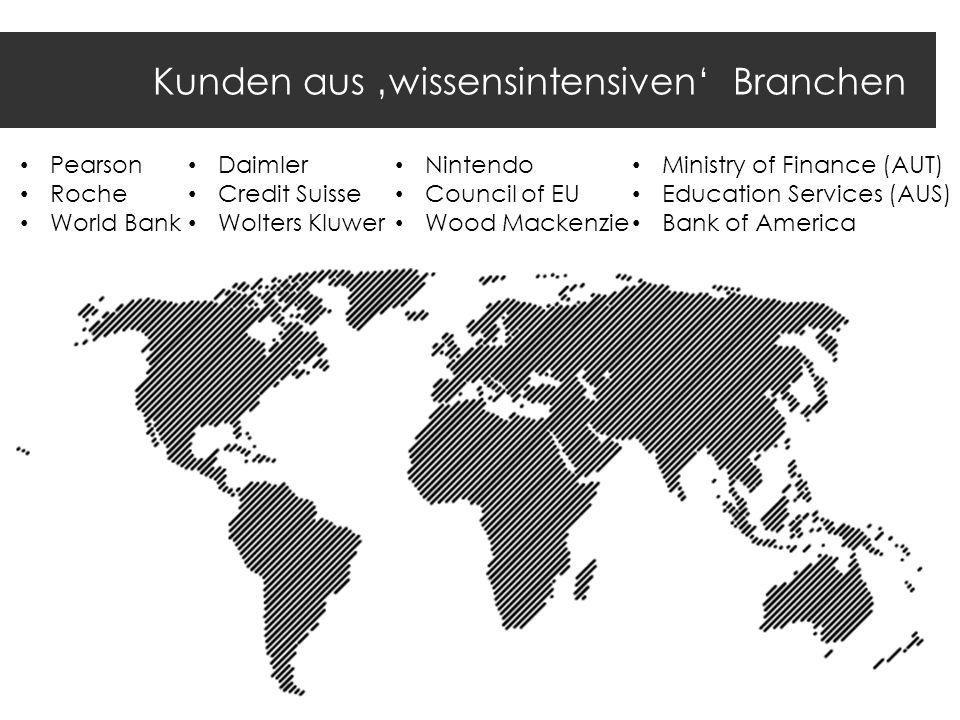 Kunden aus wissensintensiven Branchen Pearson Roche World Bank Daimler Credit Suisse Wolters Kluwer Nintendo Council of EU Wood Mackenzie Ministry of