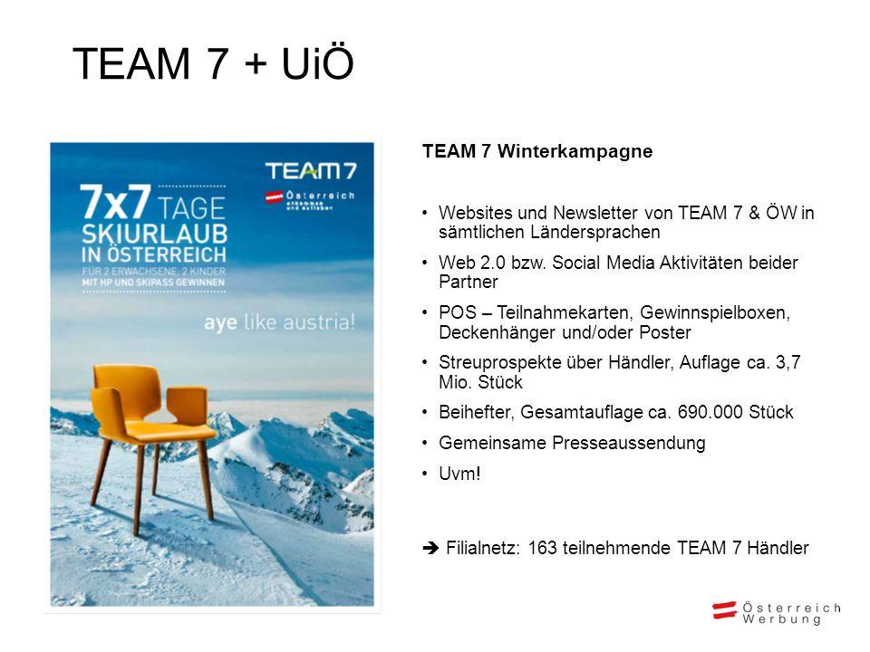 TEAM 7 + UiÖ TEAM 7 Winterkampagne Websites und Newsletter von TEAM 7 & ÖW in sämtlichen Ländersprachen Web 2.0 bzw. Social Media Aktivitäten beider P