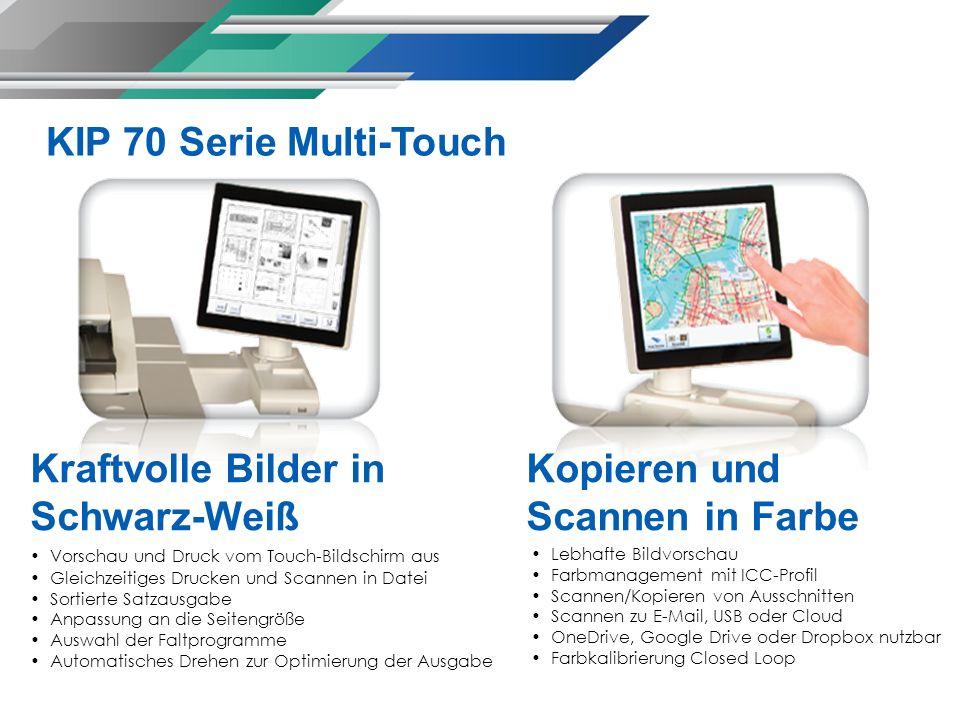 Kraftvolle Bilder in Schwarz-Weiß Vorschau und Druck vom Touch-Bildschirm aus Gleichzeitiges Drucken und Scannen in Datei Sortierte Satzausgabe Anpass