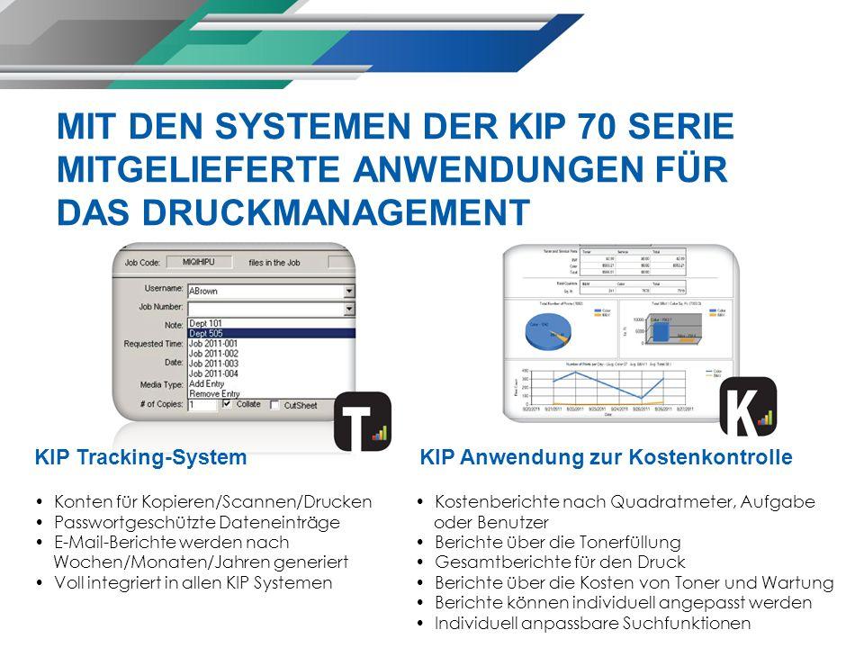 KIP Tracking-System Konten für Kopieren/Scannen/Drucken Passwortgeschützte Dateneinträge E-Mail-Berichte werden nach Wochen/Monaten/Jahren generiert V