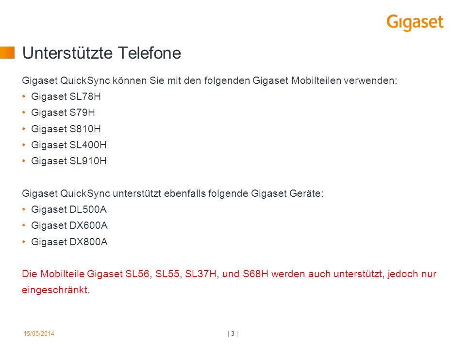 Unterstützte Telefone Gigaset QuickSync können Sie mit den folgenden Gigaset Mobilteilen verwenden: Gigaset SL78H Gigaset S79H Gigaset S810H Gigaset S