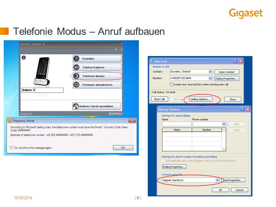 Telefonie Modus – Anruf aufbauen   8  15/05/2014