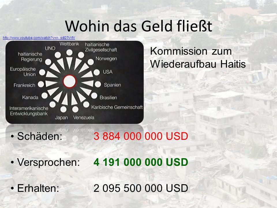 Wohin das Geld fließt Kommission zum Wiederaufbau Haitis Schäden: 3 884 000 000 USD Versprochen:4 191 000 000 USD Erhalten:2 095 500 000 USD http://ww