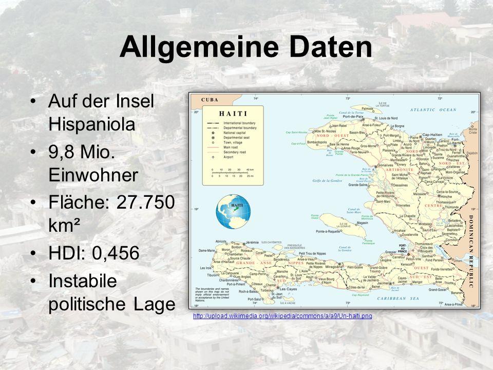 Allgemeine Daten Auf der Insel Hispaniola 9,8 Mio. Einwohner Fläche: 27.750 km² HDI: 0,456 Instabile politische Lage http://upload.wikimedia.org/wikip