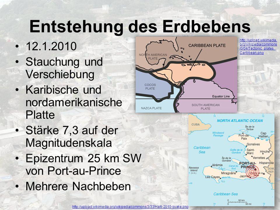 Entstehung des Erdbebens 12.1.2010 Stauchung und Verschiebung Karibische und nordamerikanische Platte Stärke 7,3 auf der Magnitudenskala Epizentrum 25