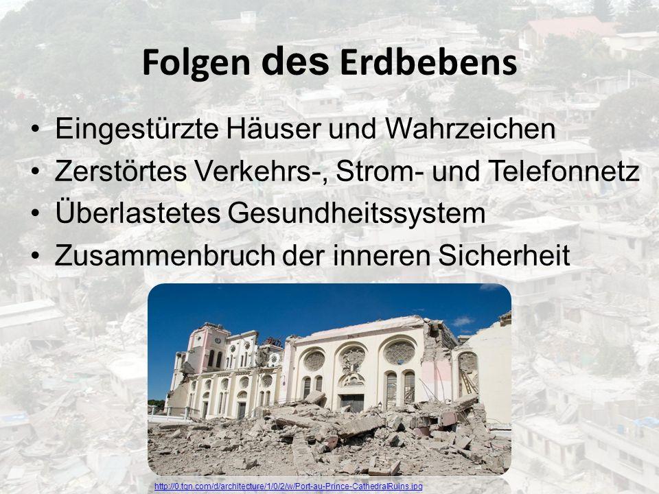 Folgen des Erdbebens Eingestürzte Häuser und Wahrzeichen Zerstörtes Verkehrs-, Strom- und Telefonnetz Überlastetes Gesundheitssystem Zusammenbruch der
