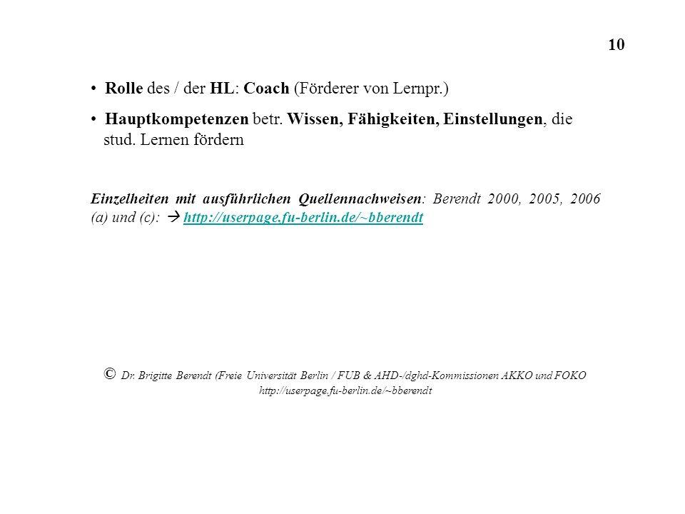 Rolle des / der HL: Coach (Förderer von Lernpr.) Hauptkompetenzen betr. Wissen, Fähigkeiten, Einstellungen, die stud. Lernen fördern Einzelheiten mit