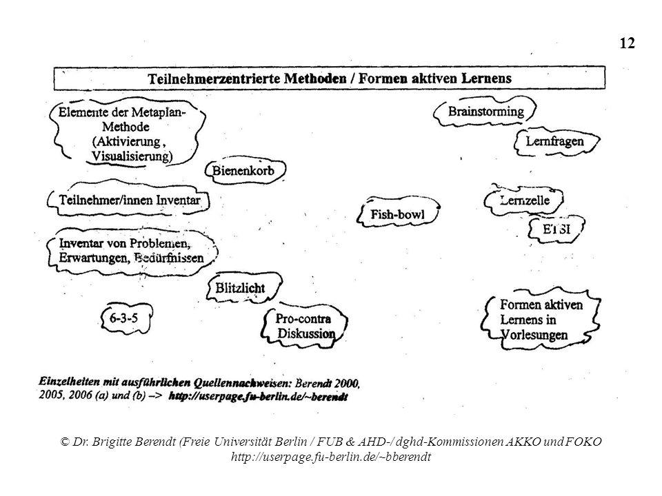 © Dr. Brigitte Berendt (Freie Universität Berlin / FUB & AHD-/ dghd-Kommissionen AKKO und FOKO http://userpage.fu-berlin.de/~bberendt 12