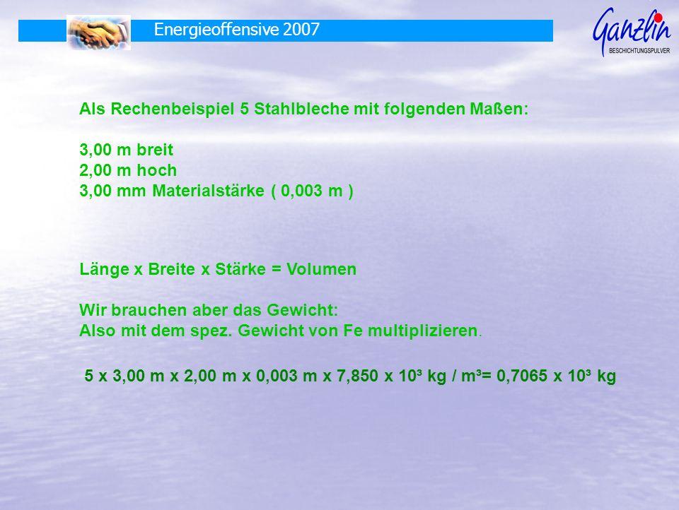 Energieoffensive 2007 Als Rechenbeispiel 5 Stahlbleche mit folgenden Maßen: 3,00 m breit 2,00 m hoch 3,00 mm Materialstärke ( 0,003 m ) Länge x Breite