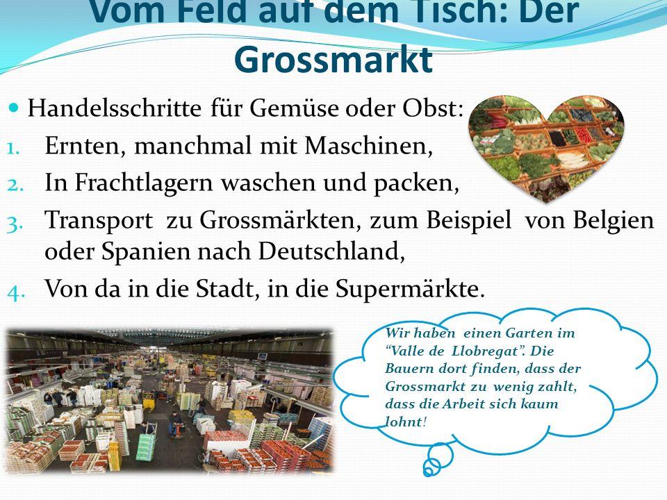 Vom Feld auf dem Tisch: Der Grossmarkt Handelsschritte für Gemüse oder Obst: 1. Ernten, manchmal mit Maschinen, 2. In Frachtlagern waschen und packen,