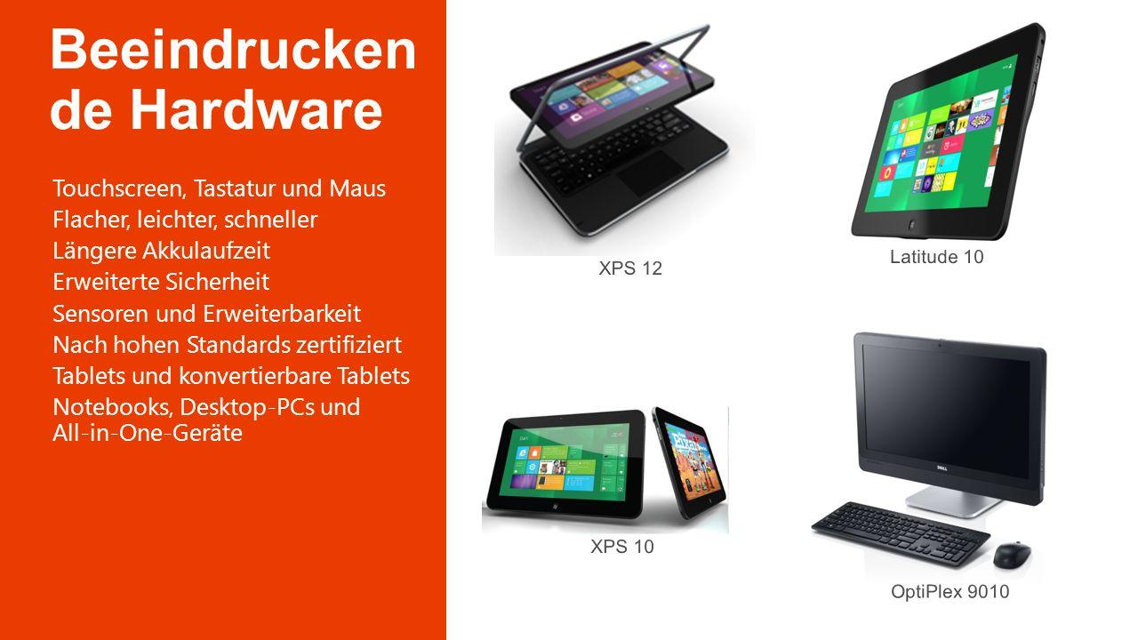 Touchscreen, Tastatur und Maus Flacher, leichter, schneller Längere Akkulaufzeit Erweiterte Sicherheit Sensoren und Erweiterbarkeit Nach hohen Standar