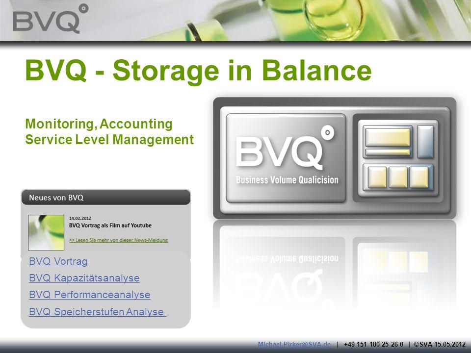 BVQ - Storage in Balance Monitoring, Accounting Service Level Management BVQ Vortrag BVQ Kapazitätsanalyse BVQ Performanceanalyse BVQ Speicherstufen A