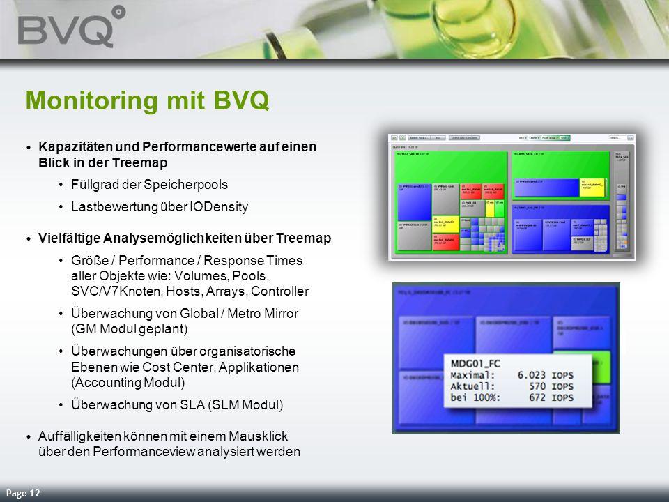 Page 12 Monitoring mit BVQ Kapazitäten und Performancewerte auf einen Blick in der Treemap Füllgrad der Speicherpools Lastbewertung über IODensity Vie