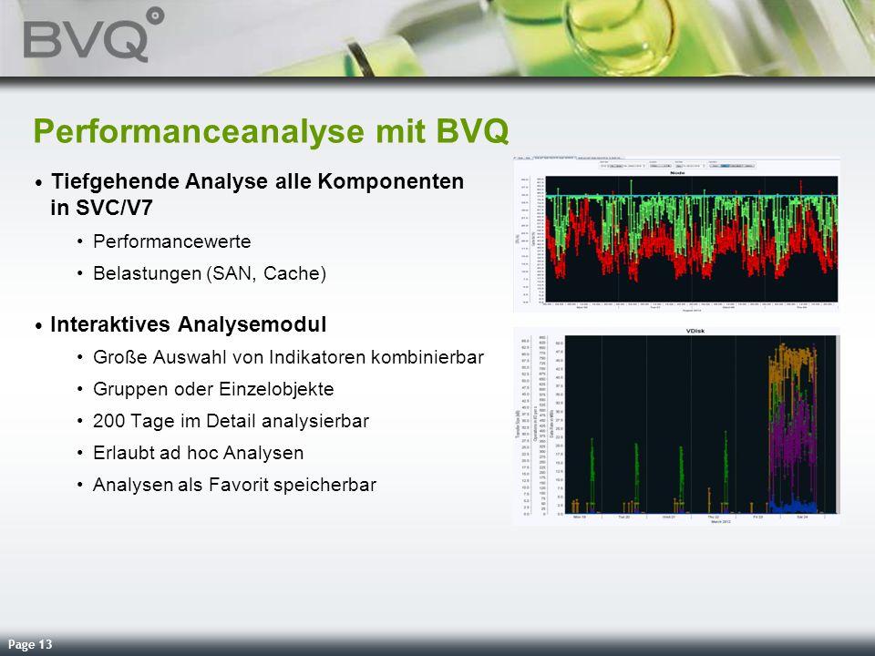 Page 13 Performanceanalyse mit BVQ Tiefgehende Analyse alle Komponenten in SVC/V7 Performancewerte Belastungen (SAN, Cache) Interaktives Analysemodul
