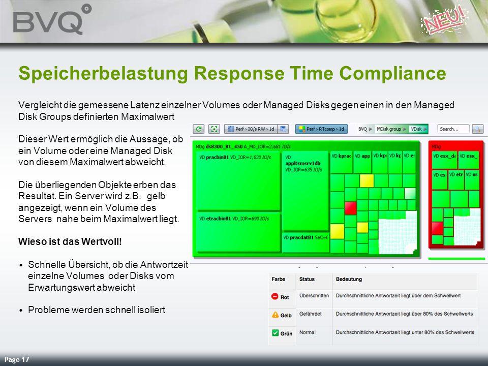 Page 17 Speicherbelastung Response Time Compliance Vergleicht die gemessene Latenz einzelner Volumes oder Managed Disks gegen einen in den Managed Dis