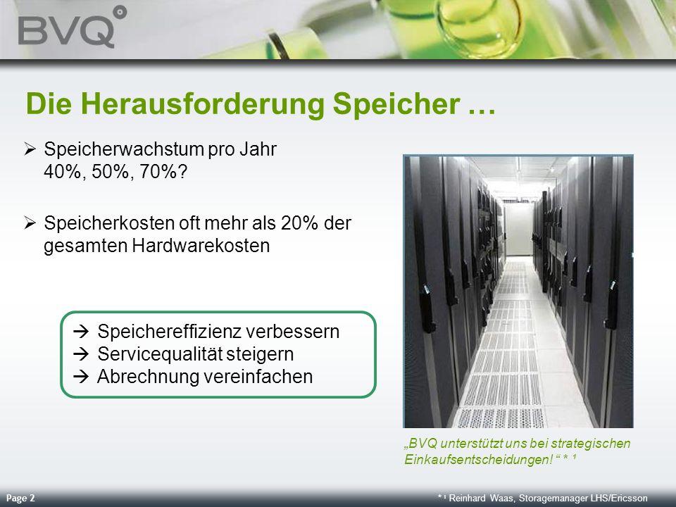 Page 2 Die Herausforderung Speicher … Speicherwachstum pro Jahr 40%, 50%, 70%? Speicherkosten oft mehr als 20% der gesamten Hardwarekosten BVQ unterst