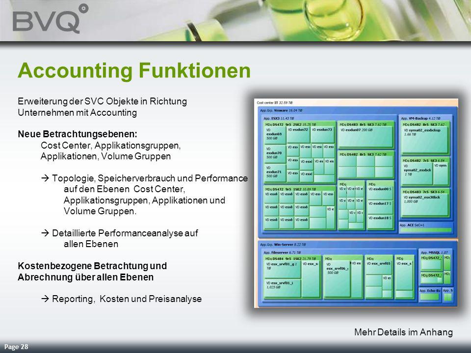 Page 28 Accounting Funktionen Erweiterung der SVC Objekte in Richtung Unternehmen mit Accounting Neue Betrachtungsebenen: Cost Center, Applikationsgru