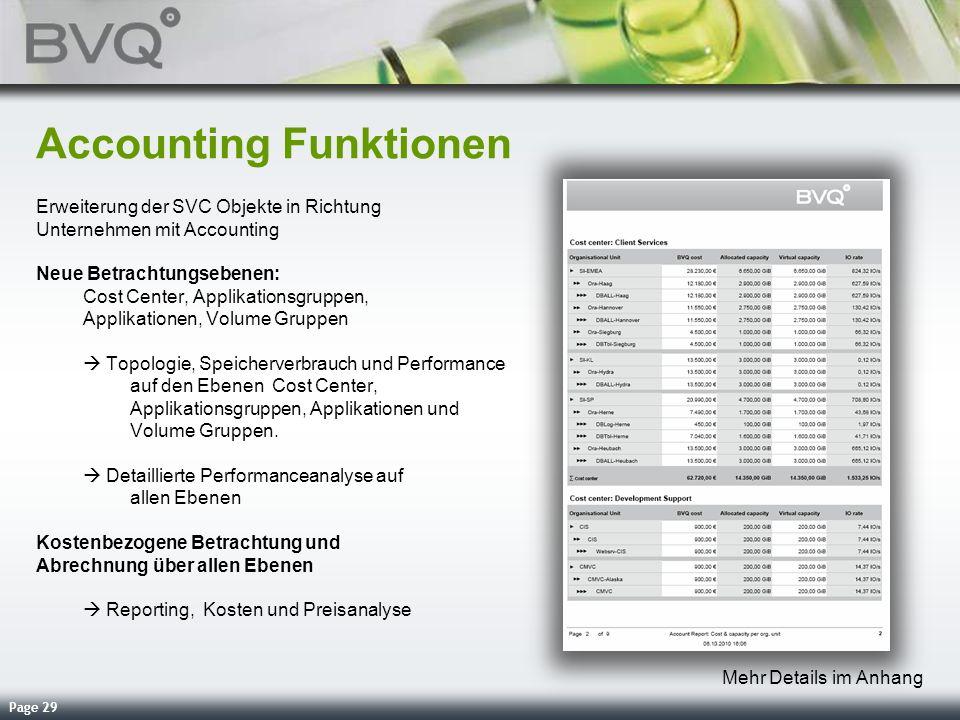 Page 29 Accounting Funktionen Erweiterung der SVC Objekte in Richtung Unternehmen mit Accounting Neue Betrachtungsebenen: Cost Center, Applikationsgru
