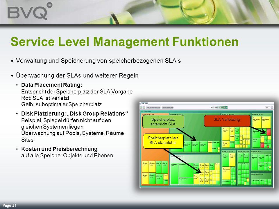 Page 31 Service Level Management Funktionen Verwaltung und Speicherung von speicherbezogenen SLAs Überwachung der SLAs und weiterer Regeln Data Placem