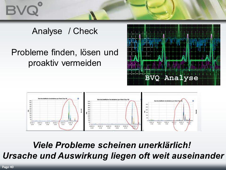 Page 40 Analyse / Check Probleme finden, lösen und proaktiv vermeiden Viele Probleme scheinen unerklärlich! Ursache und Auswirkung liegen oft weit aus