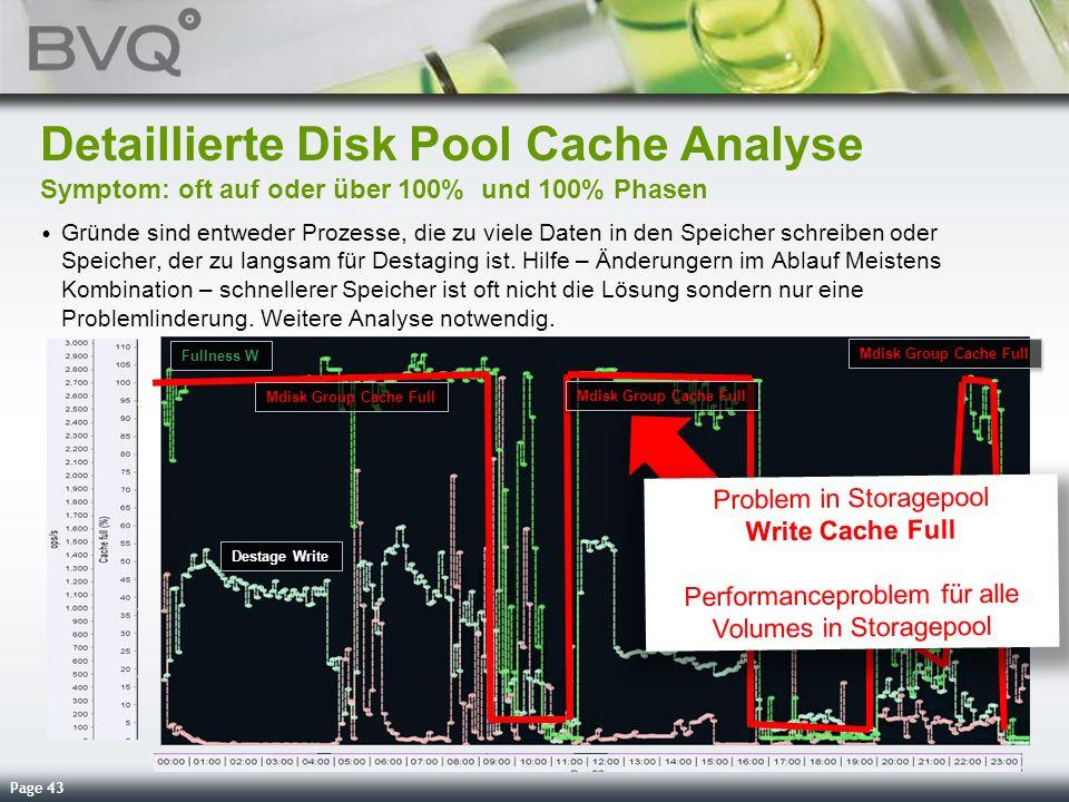 Page 43 Detaillierte Disk Pool Cache Analyse Symptom: oft auf oder über 100% und 100% Phasen Gründe sind entweder Prozesse, die zu viele Daten in den