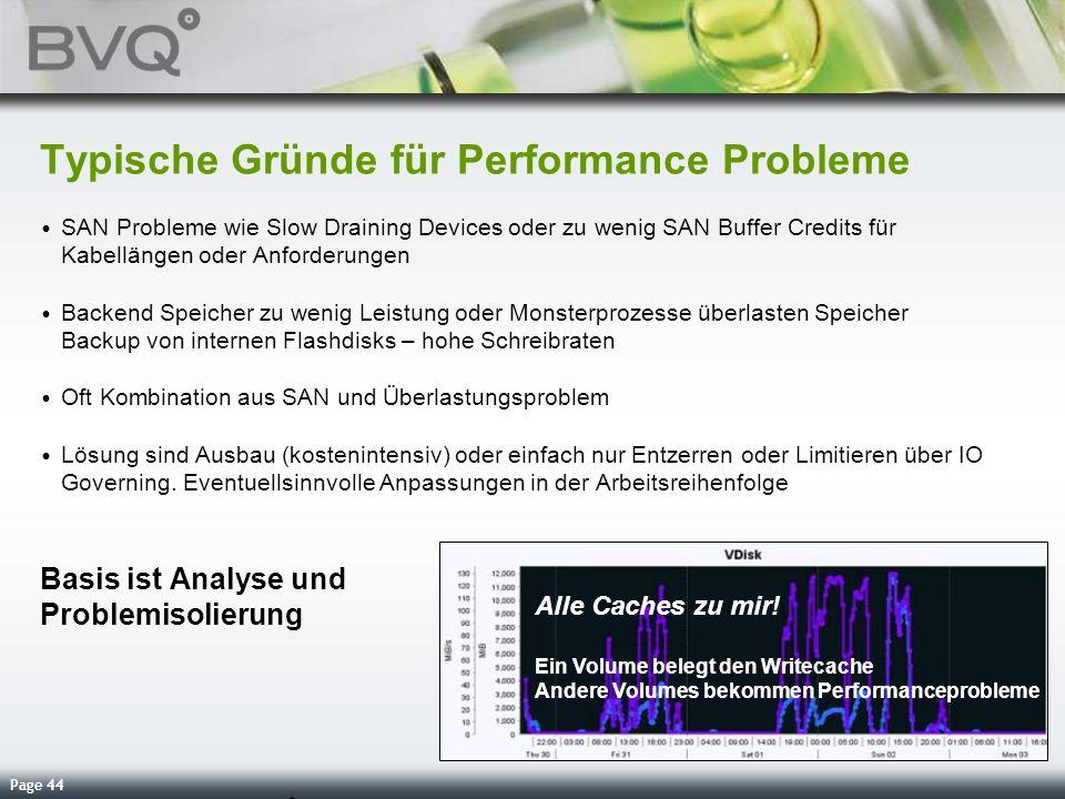 Page 44 Typische Gründe für Performance Probleme SAN Probleme wie Slow Draining Devices oder zu wenig SAN Buffer Credits für Kabellängen oder Anforder