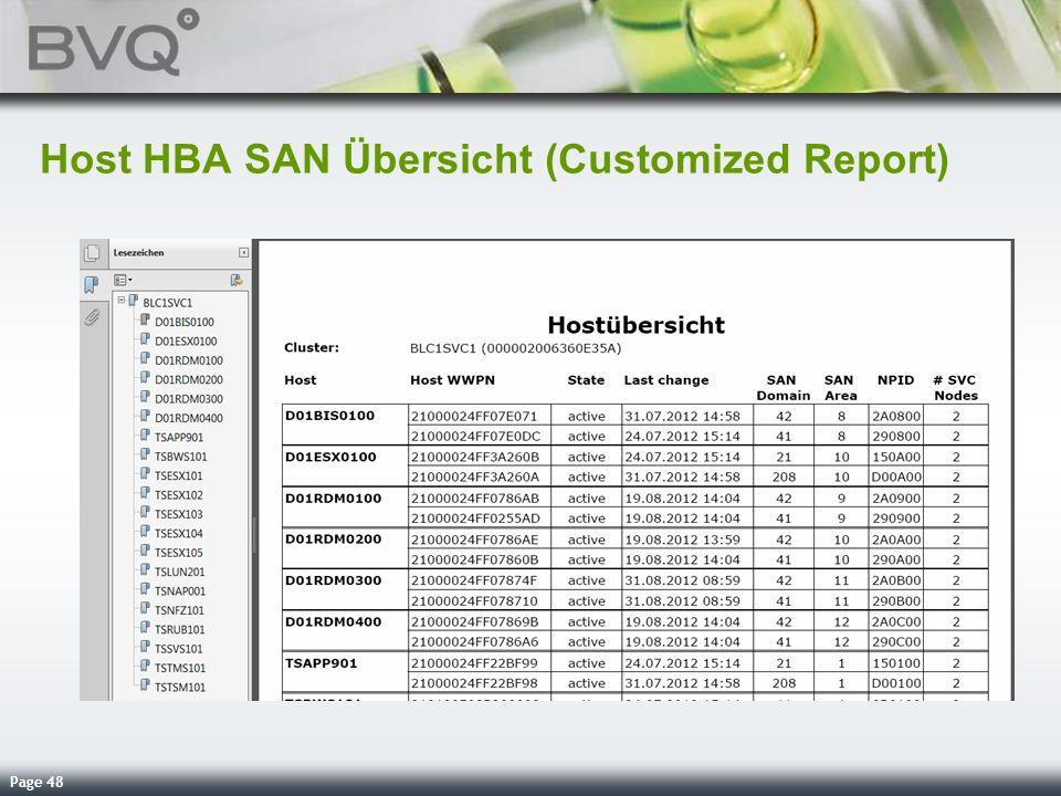 Page 48 Host HBA SAN Übersicht (Customized Report)