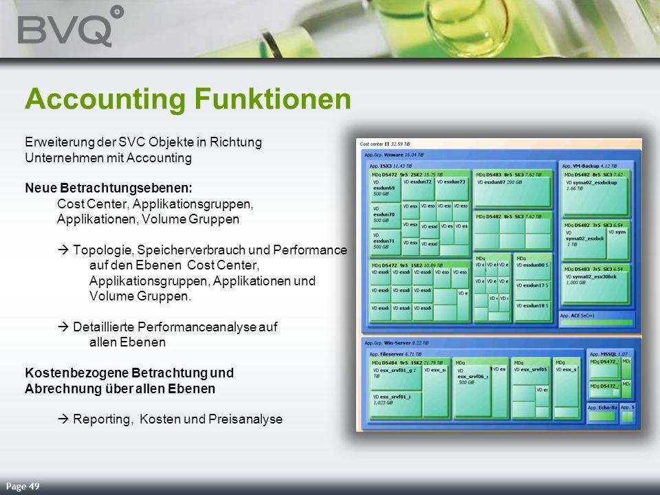 Page 49 Accounting Funktionen Erweiterung der SVC Objekte in Richtung Unternehmen mit Accounting Neue Betrachtungsebenen: Cost Center, Applikationsgru