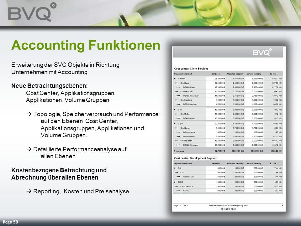 Page 50 Accounting Funktionen Erweiterung der SVC Objekte in Richtung Unternehmen mit Accounting Neue Betrachtungsebenen: Cost Center, Applikationsgru