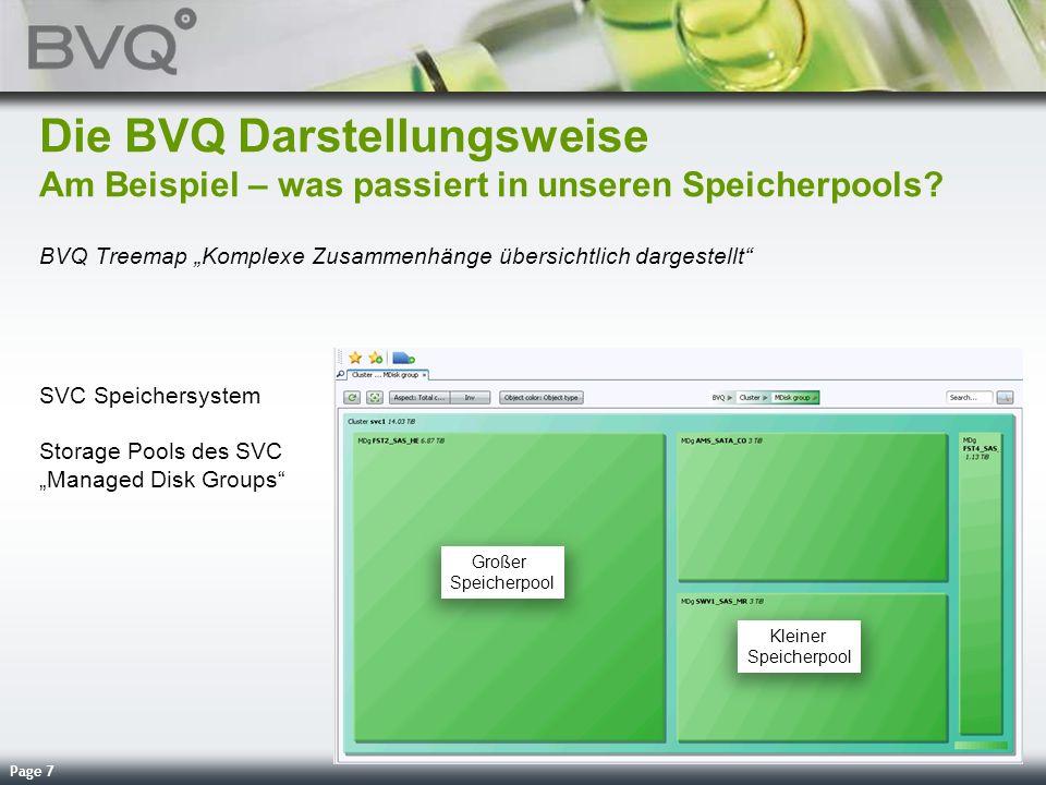 Page 7 Die BVQ Darstellungsweise Am Beispiel – was passiert in unseren Speicherpools? BVQ Treemap Komplexe Zusammenhänge übersichtlich dargestellt SVC