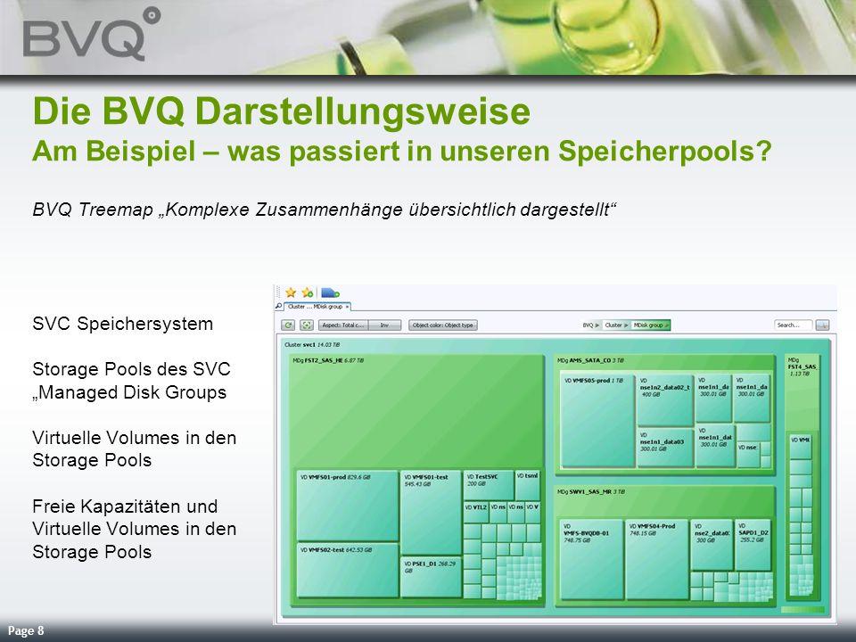 Page 8 Die BVQ Darstellungsweise Am Beispiel – was passiert in unseren Speicherpools? BVQ Treemap Komplexe Zusammenhänge übersichtlich dargestellt SVC