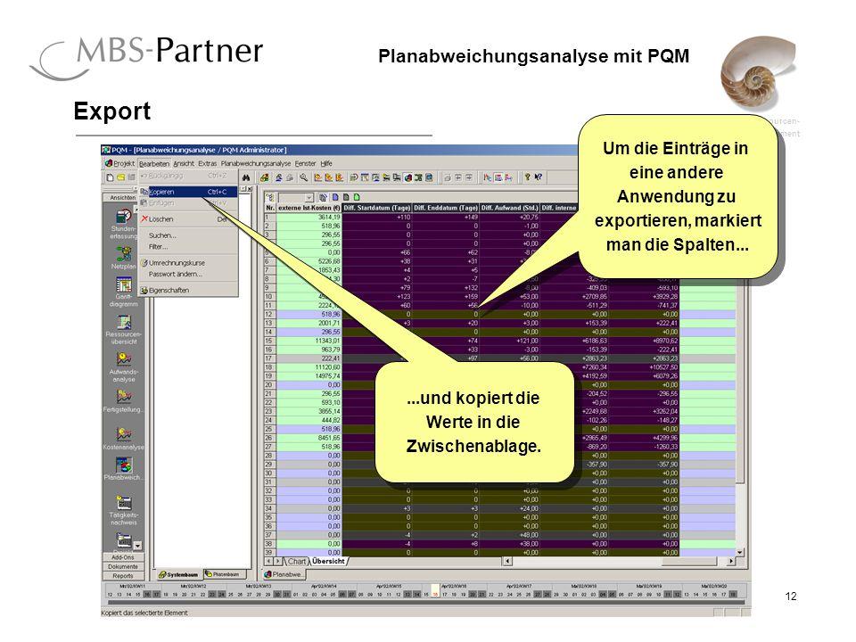 ganzheitliches Projekt-, Ressourcen- und Qualitätsmanagement 12 Planabweichungsanalyse mit PQM Export Um die Einträge in eine andere Anwendung zu exportieren, markiert man die Spalten...