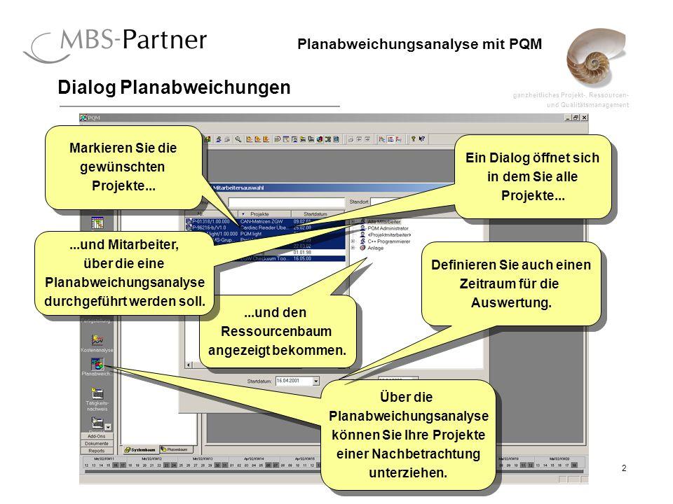 ganzheitliches Projekt-, Ressourcen- und Qualitätsmanagement 2 Planabweichungsanalyse mit PQM Dialog Planabweichungen Ein Dialog öffnet sich in dem Sie alle Projekte...