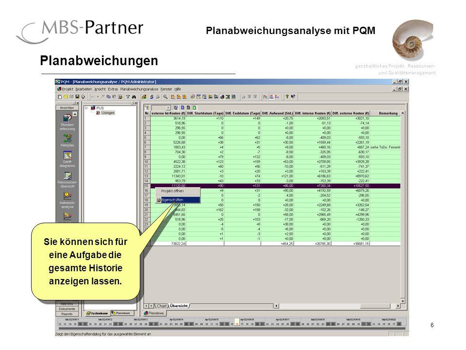ganzheitliches Projekt-, Ressourcen- und Qualitätsmanagement 7 Planabweichungsanalyse mit PQM Planabweichungen Der jeweils letzte Änderungsgrund kann noch verändert werden.