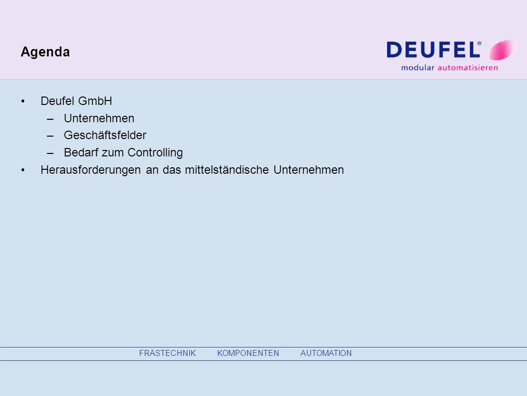 Agenda Deufel GmbH –Unternehmen –Geschäftsfelder –Bedarf zum Controlling Herausforderungen an das mittelständische Unternehmen