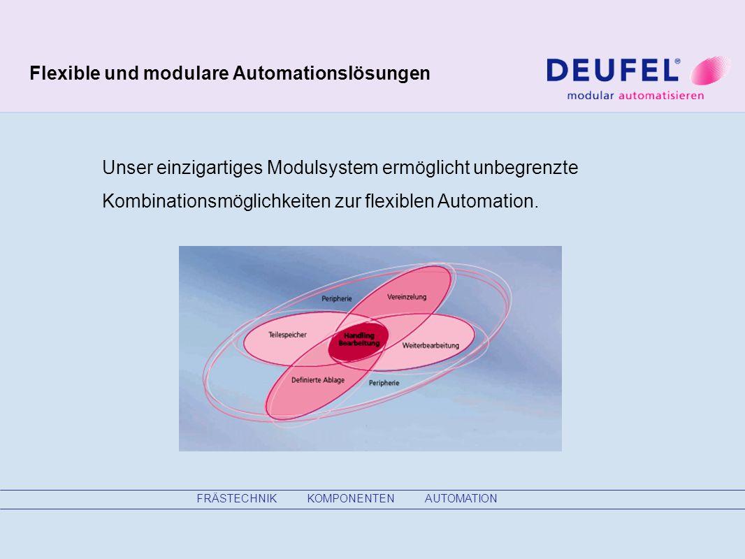 FRÄSTECHNIK KOMPONENTEN AUTOMATION Flexible und modulare Automationslösungen Unser einzigartiges Modulsystem ermöglicht unbegrenzte Kombinationsmöglichkeiten zur flexiblen Automation.