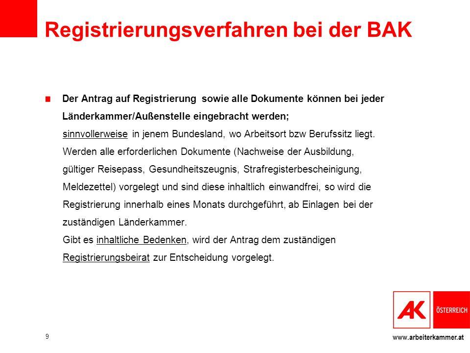 www.arbeiterkammer.at Registrierungsverfahren bei der BAK Der Antrag auf Registrierung sowie alle Dokumente können bei jeder Länderkammer/Außenstelle eingebracht werden; sinnvollerweise in jenem Bundesland, wo Arbeitsort bzw Berufssitz liegt.