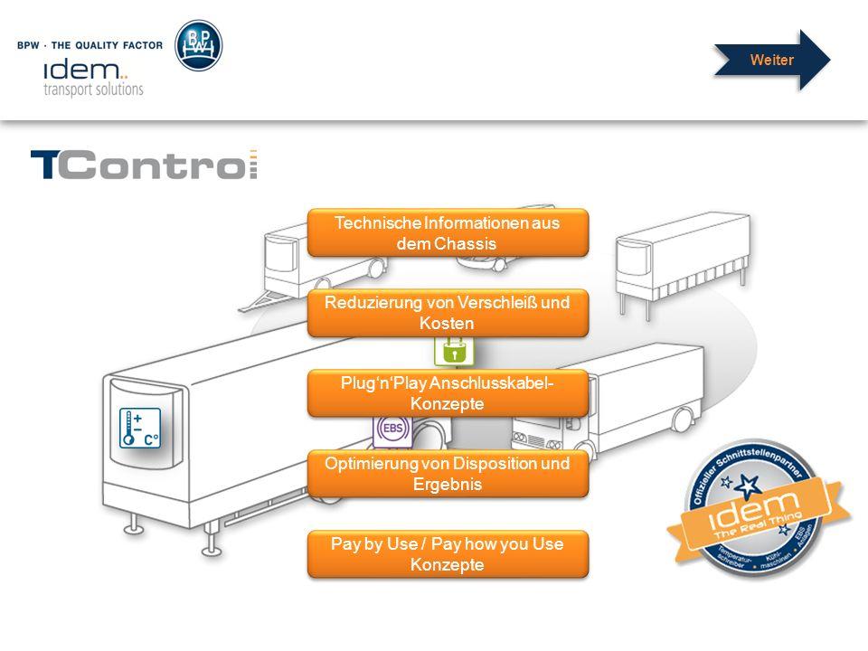 Technische Informationen aus dem Chassis Reduzierung von Verschleiß und Kosten Optimierung von Disposition und Ergebnis Pay by Use / Pay how you Use K