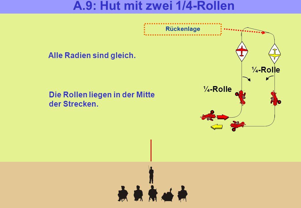 A.9: Hut mit zwei 1/4-Rollen ¼-Rolle Rückenlage Alle Radien sind gleich.