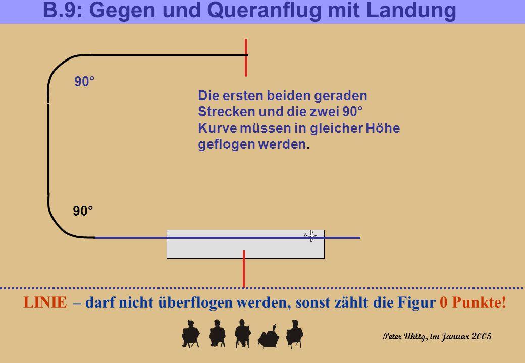 B.9: Gegen und Queranflug mit Landung LINIE – darf nicht überflogen werden, sonst zählt die Figur 0 Punkte! Die ersten beiden geraden Strecken und die