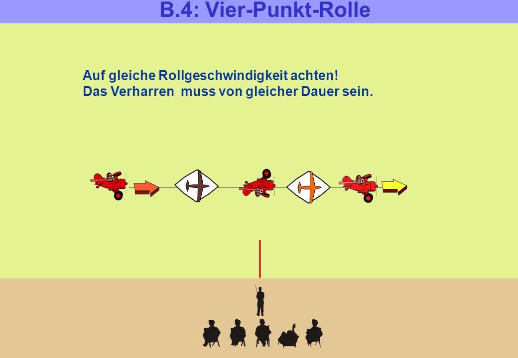 B.4: Vier-Punkt-Rolle Auf gleiche Rollgeschwindigkeit achten! Das Verharren muss von gleicher Dauer sein.