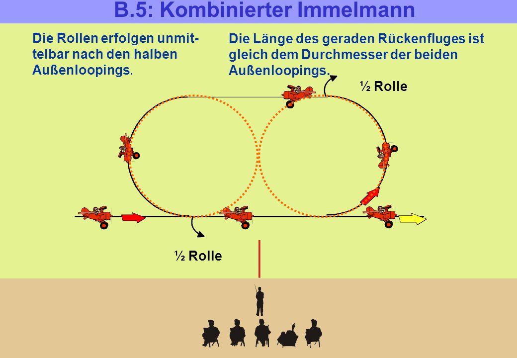 B.5: Kombinierter Immelmann Die Rollen erfolgen unmit- telbar nach den halben Außenloopings. Die Länge des geraden Rückenfluges ist gleich dem Durchme