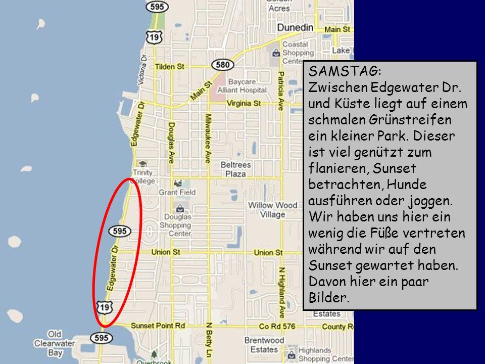SAMSTAG: Zwischen Edgewater Dr. und Küste liegt auf einem schmalen Grünstreifen ein kleiner Park. Dieser ist viel genützt zum flanieren, Sunset betrac