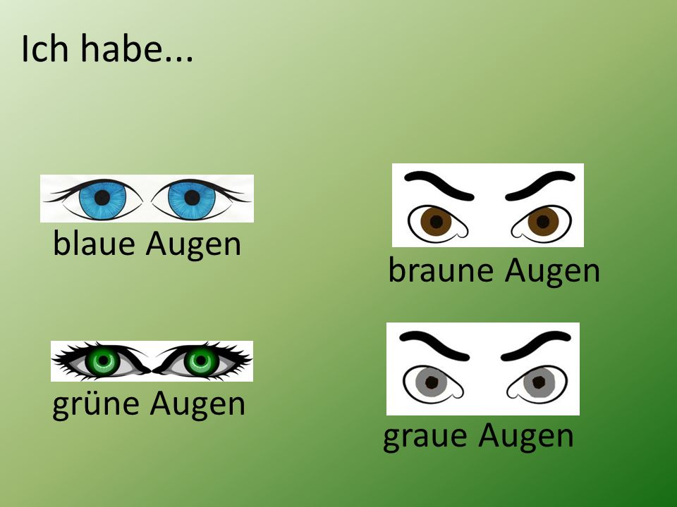 Ich habe k_____ r___ Haare und b_____ Augen. Ich habe k____ s_____ Haare und b_____ Augen.