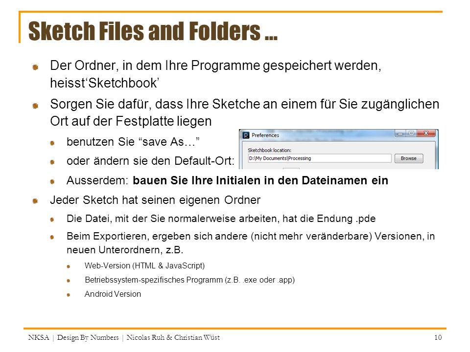 Sketch Files and Folders … Der Ordner, in dem Ihre Programme gespeichert werden, heisstSketchbook Sorgen Sie dafür, dass Ihre Sketche an einem für Sie